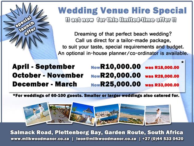milkwood manor seaside beach wedding special